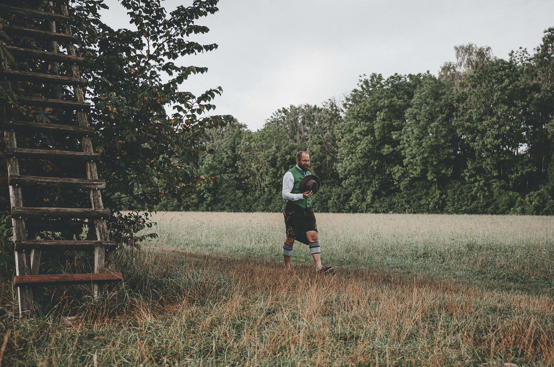 farmer Albert walking in a field